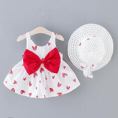 2-pieces Baby Girl Bowknot Heart Print Set