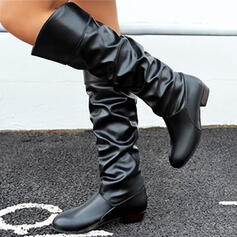 Women's PU Chunky Heel Mid-Calf Boots Round Toe With Ruched Solid Color shoes