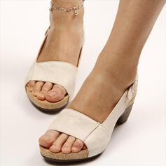 Women's PU Chunky Heel Sandals Peep Toe Slingbacks Slippers With Buckle shoes