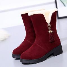Kvinnor Mocka Flat Heel Halva Vaden Stövlar Snökängor rund tå med Tofs Solid färg skor