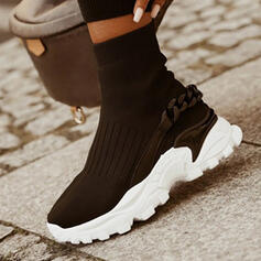 Women's Flying Weave Flat Heel Flats Platform Boots Ankle Boots Round Toe Slip On Sock Boots With Chain Elastic Band Solid Color shoes