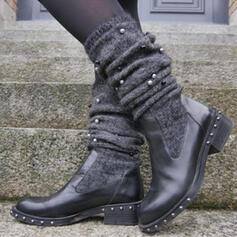 Kvinnor PU Tjockt Häl Knäkickkängor rund tå med Nita Solid färg skor