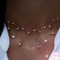 Hetaste Stjärnor Legering med Stjärna Måne Smycken Sets Halsband 2 st