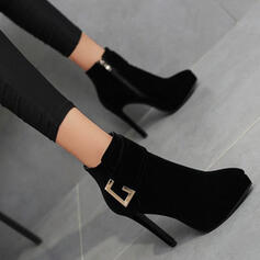Women's Suede Stiletto Heel Boots Ankle Boots With Solid Color shoes