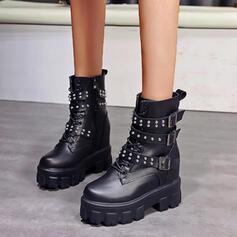 Kvinnor PU Flat Heel Boots Martin Stövlar rund tå med Spänne Zipper Bandage skor