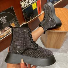 Women's Sparkling Glitter Chunky Heel Platform Boots Ankle Boots Low Top Round Toe With Rhinestone Lace-up shoes