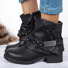 Women's PU Chunky Heel Platform Ankle Boots Martin Boots Round Toe With Sequin Ruched Chain Velcro Solid Color shoes