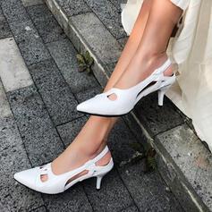 Kvinnor PU Stilettklack Pumps Spetsad tå med Ihåliga ut skor