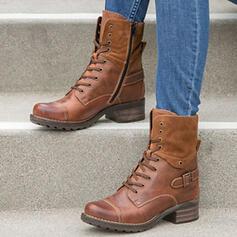 Kvinnor Konstläder Låg Klack Boots rund tå med Bandage skor