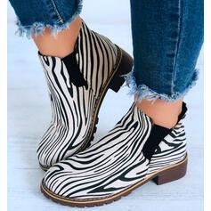 Kvinnor Mocka Låg Klack Stövlar Boots rund tå med Animaliska Tryck skor