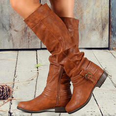 Women's PU Chunky Heel Boots Martin Boots With Buckle Zipper Solid Color shoes