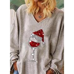 Sequins V-Neck Long Sleeves Christmas T-shirts