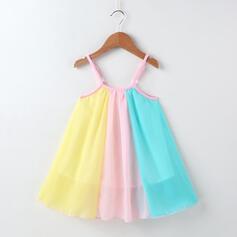 småbarn flicka Färgblock Chiffong Klänning