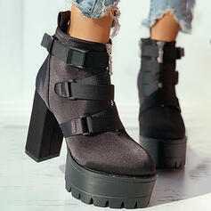 Women's Suede PU Chunky Heel Platform Ankle Boots Round Toe With Buckle Zipper Solid Color shoes