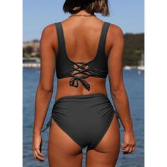 String Ruffles Strap V-Neck Elegant Bikinis Swimsuits