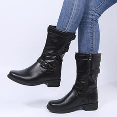 Kvinnor PU Låg Klack Stövlar Halva Vaden Stövlar Spetsad tå med Spänne skor