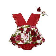 2-pieces Baby Girl Bowknot Floral Lace Print Cotton Set