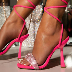 Women's Microfiber Stiletto Heel Sandals Pumps Peep Toe With Sparkling Glitter Lace-up shoes