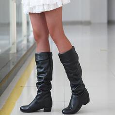 Kvinnor PU Flat Heel Stövlar Knäkickkängor Over The Knee Boots Snökängor Hög topp med Solid färg skor