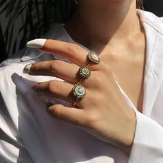 Chic Bohemisk Legering Turkos med Pärla Ringar 3 st