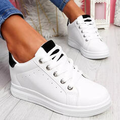 Women's Leatherette Others Flats Platform Low Top Sneakers With Lace-up Splice Color shoes