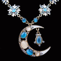 Fashionable Moon Luck Sunrise Alloy With Moon Sun Women's Ladies' Girl's Necklaces