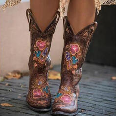 Women's PU Chunky Heel Mid-Calf Boots Riding Boots Pointed Toe With Floral Embroidery shoes