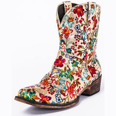 Women's PU Chunky Heel Mid-Calf Boots Riding Boots Pointed Toe With Flower Embroidery shoes