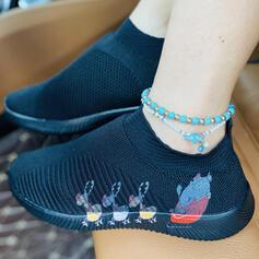 Kvinnor Mesh Flat Heel Platta Skor / Fritidsskor Låg topp med Elastiskt band skor