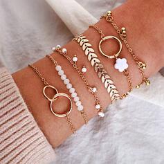 Charmen Snygga konstnärligt Delikat Skiktad Legering Armband 6 st