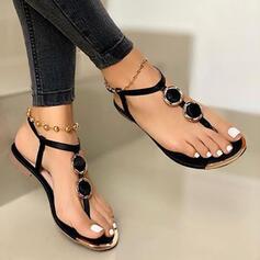 Women's PU Flat Heel Sandals Flats Flip-Flops With Solid Color shoes