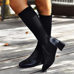 Women's Cloth Mesh PU Chunky Heel Mid-Calf Boots With Solid Color shoes