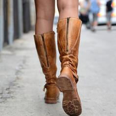 Kvinnor PU Flat Heel Platta Skor / Fritidsskor Stängt Toe Stövlar Knäkickkängor med Zipper skor