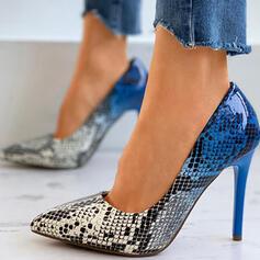 Kvinnor PU Stilettklack Pumps Spetsad tå med Animaliska Tryck Skarvfärg skor