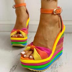 Women's Canvas Wedge Heel Sandals Peep Toe With Buckle Splice Color shoes
