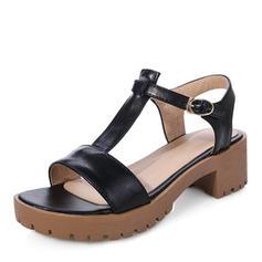 Kvinnor PU Tjockt Häl Sandaler Pumps Plattform Peep Toe Slingbacks med Spänne skor