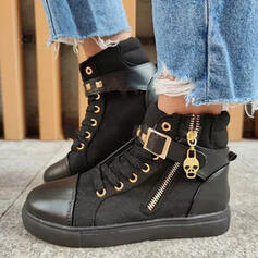 Women's Leatherette Canvas Flat Heel Ankle Boots Round Toe With Rivet Lace-up shoes