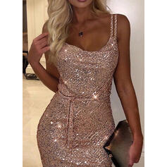 Solid Sequins Sleeveless Bodycon Above Knee Sexy/Party Slip Dresses