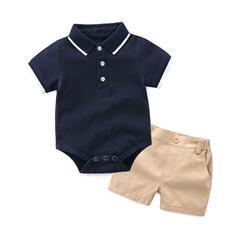 2-pieces Baby Boy Solid Cotton Set