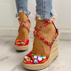 Women's Satin Wedge Heel Sandals Peep Toe With Satin Flower shoes