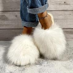 Women's Fake fur Flat Heel Sandals Flats Slippers Round Toe With Faux-Fur Solid Color shoes