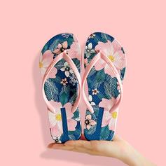 Women's PVC Flat Heel Sandals Flats Flip-Flops Slippers With Floral Print shoes
