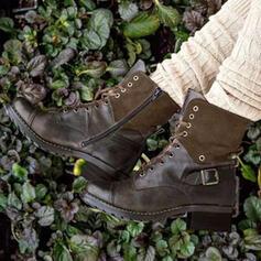 Kvinnor PU Låg Klack Boots Ridstövlar rund tå med Spänne Bandage skor