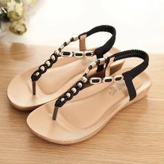 Women's Leatherette Wedge Heel Sandals Flats Peep Toe Slingbacks With Beading Elastic Band shoes