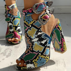 Women's PU Chunky Heel Sandals Peep Toe With Buckle Animal Print shoes