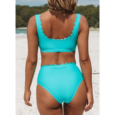 Solid Color String Strap V-Neck Classic Bikinis Swimsuits