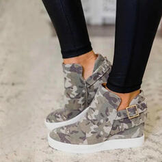 Women's Canvas Flat Heel Boots Ankle Boots Low Top Round Toe With Buckle shoes