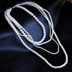 Unik Elegant Tofsar Utformning Legering Fauxen Pärla med Oäkta Pearl Kvinnor Halsband 4 st