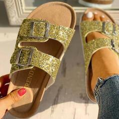 Women's PVC Flat Heel Sandals Peep Toe Slippers With Rhinestone Buckle shoes