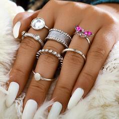 Snygga Romantiskt Legering med Strass Ringar 7 st